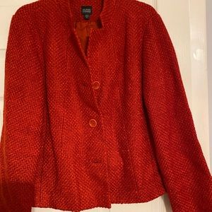 🌹Eileen Fished Red Textured Pea Coat🌹